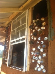 Our bottle brick wall on the intern cabin
