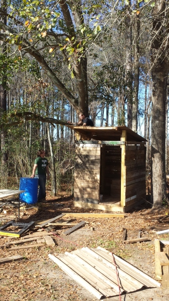 Newly built outhouse